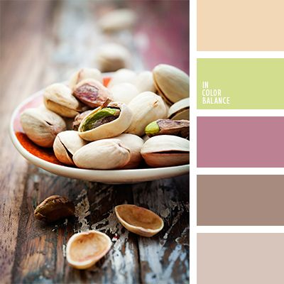 beige, color cáscara de pistacho, color verde pistacho, color verde pistacho pálido, marrón pálido, rosado pálido, rosado y verde lechuga, tonos de color verde pistacho, tonos marrones, tonos verde pistacho, verde lechuga pálido, verde pistacho, verde pistacho claro.