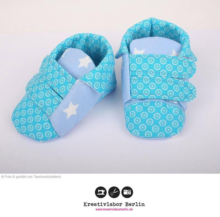 Babyschuhe mit Klettverschluss  Schnittmuster & Nähanleitung: http://www.kreativlaborberlin.de/naehanleitungen-schnittmuster/babyschuhe-mit-klettverschluss/