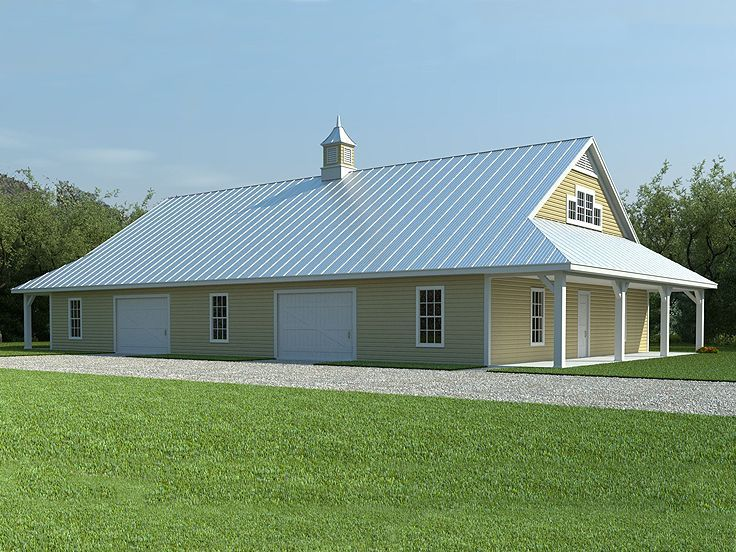 Steel buildings with living quarters floor plans pole for Pole barn shop plans