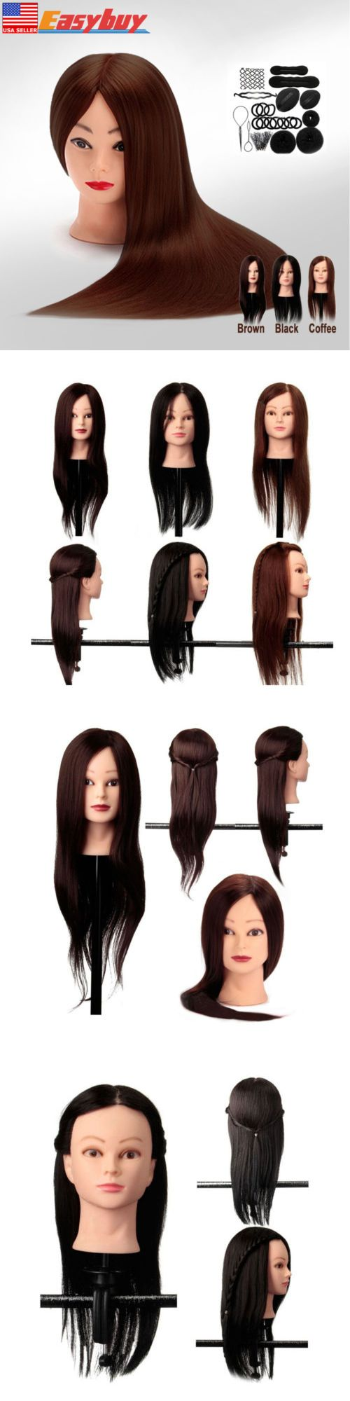 Other Salon and Spa Equipment: 24 New Hair Training Practice Head Mannequin Hairdressing Or Braid Tool Set Pro BUY IT NOW ONLY: $36.49