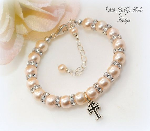 Pearl Flower Girl Bracelet with Cross Charm, Baptism Bracelet, Christening Gift, Flower Girl Gift, Baby Bracelet, Cross Jewelry on Etsy, $31.00