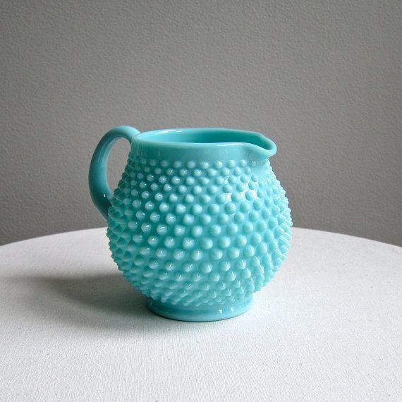 Vintage Fenton Hobnail Turquoise Blue Milk by BarkingSandsVintage, $110.00