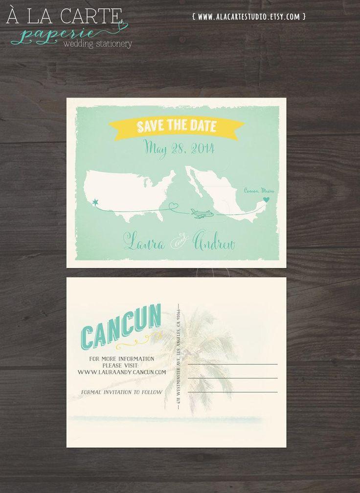 45 best custom watercolor maps by honey paper images on pinterest destination wedding save the date card usa mexico wedding bilingual wedding invitation spanish english invitation stopboris Images