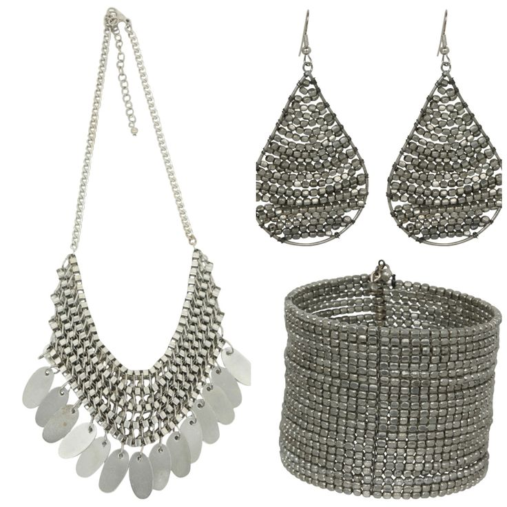 These accessories will give a style injection to any outfit! Ghana Necklace, Swazi Earrings and Swazi Cuff in Silver.  Also available in Brass and Copper from www.bohemianliving.com.au