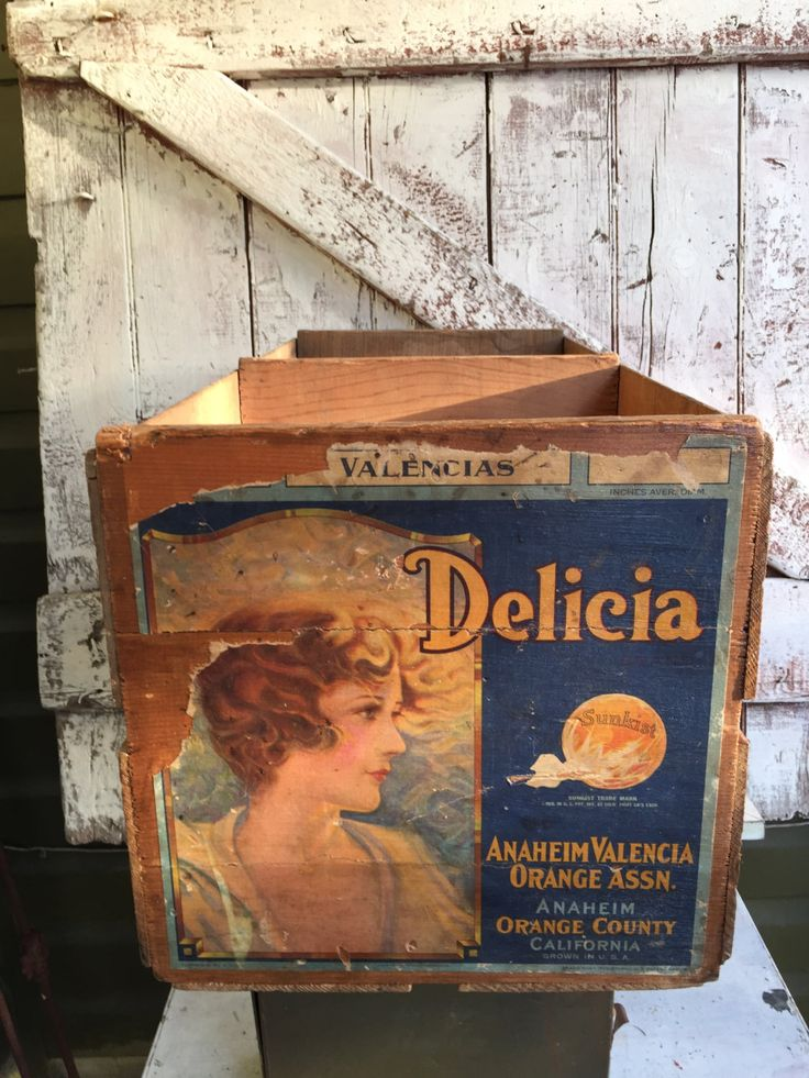 Primitive Wooden Box Crate with Delicia Advertisement rustic fruit crate vintage crate by LititzCarriageHouse on Etsy
