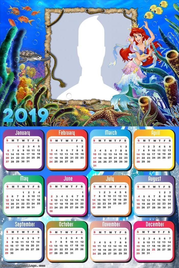 The Little Mermaid Calendar 2019 Frame Photo Montage Free