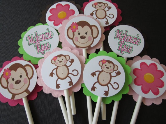 12 Mod Monkey birthday party baby shower by BudgetBirthdays, $6.75