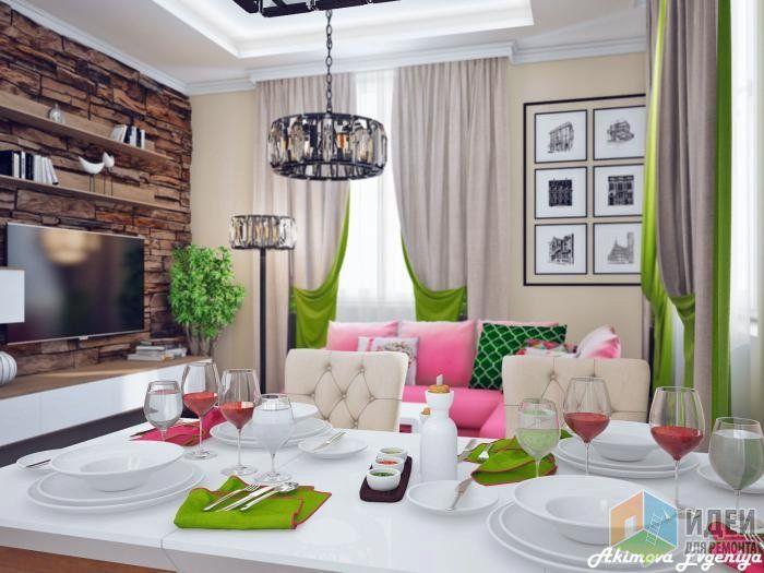 Кухня-гостиная дизайн, розовый диван в гостиной, белый зеленый розовый в интерьере