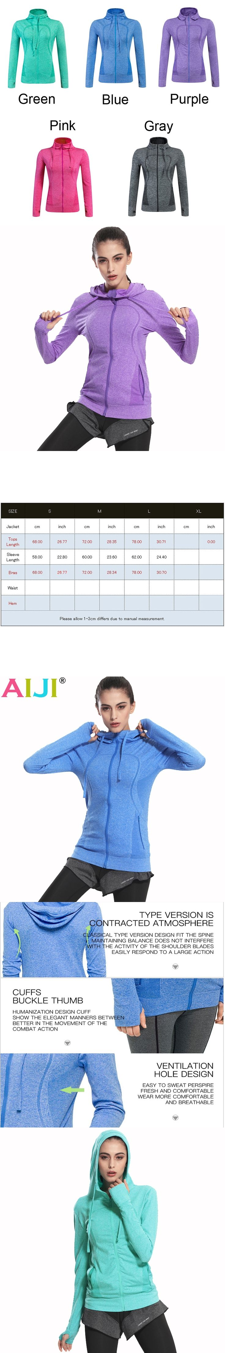 Women running jackets hooded fitness jacket zipper long-sleeved coat quick-drying women yoga jacket hooded sports chaqueta mujer
