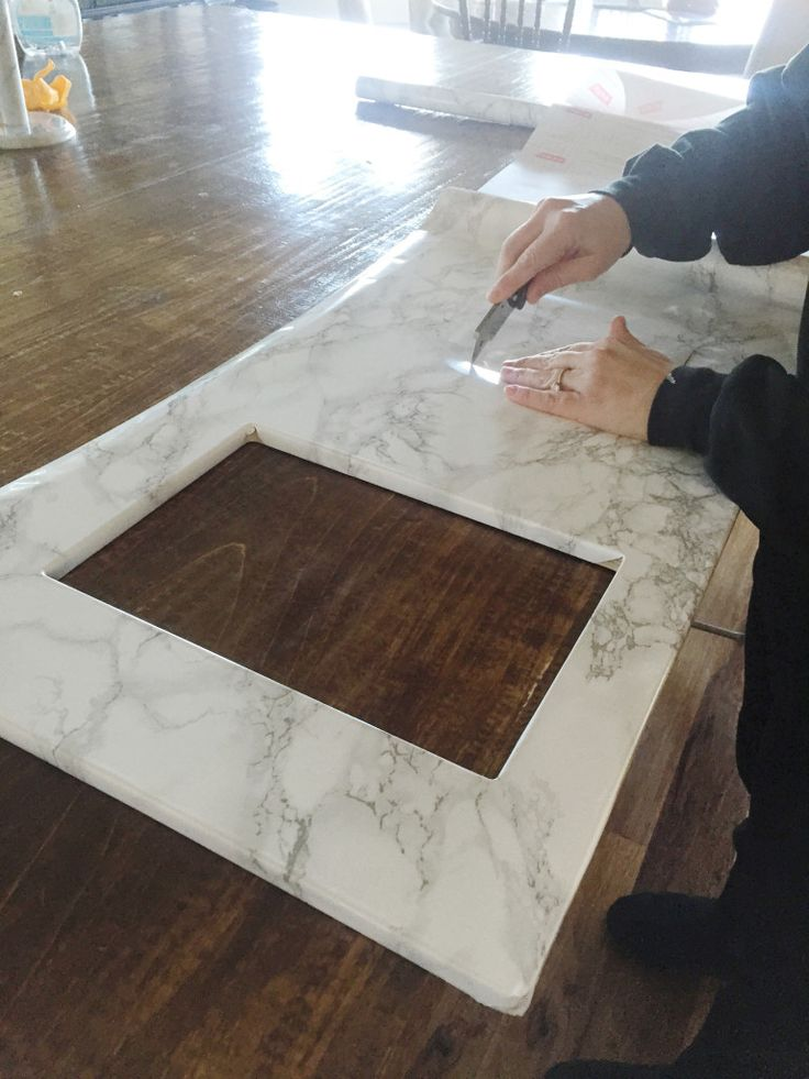 "Contact paper ""marble"" counters for ikea play kitchen"