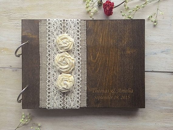 Guestbook in legno Wedding Guest Book libro di WeddingRusticDeco