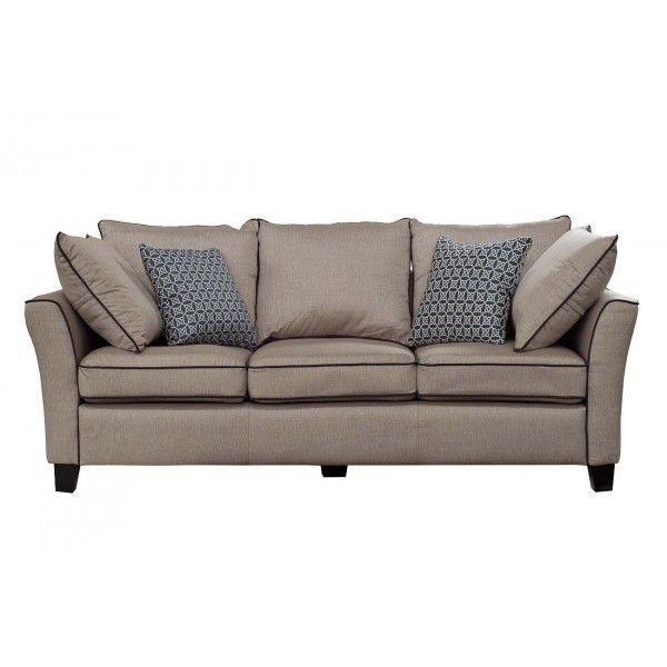 диван трехместный с подушками (бежевый)