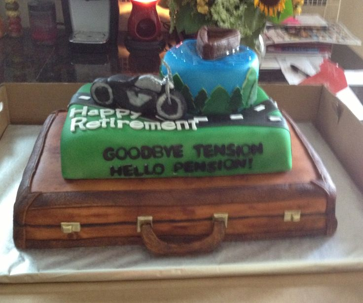 Retirement Cake With Briefcase Motorcycle And Fishing