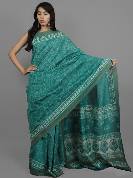 Green Ivory Chanderi Hand Block Printed Saree With Ghicha Border - S031702452