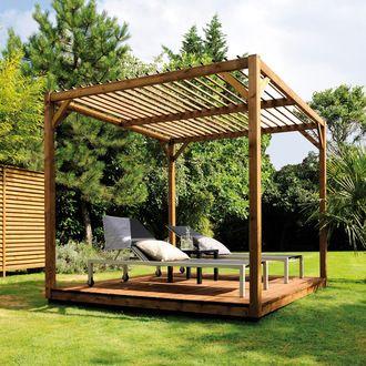 Idée pour Pergola carrée (Sapin/Epicéa 256,50x300cm hauteur 270cm)