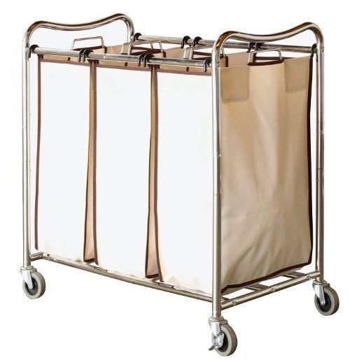 Laundry Basket On Wheels 3 Bin Clothes Sorter Rolling Cart Hamper Organizer Bag #DecoBrothers