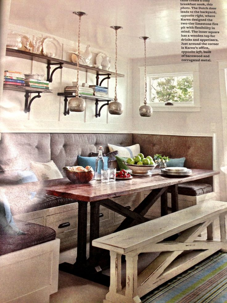 possible nook i love the bench for extra seating it could just slide under kitchen booth - Booth Kitchen Tables
