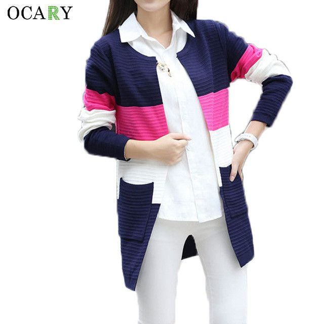 Summer Ladies Tops Fashion Striped Cardigan Oversize Women Long Sweater With Pocket 2016 Crochets Femme Plus Size Maglioni Donna