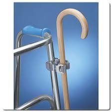 Double Clip Cane Holder by MaxiAids. $17.99. Attach to walkers. Attach to wheelchairs. Attach to bed rails. Attach to commodes. Use it anytime you need a helping hand. Don't try to carry your cane while using another mobility device Use this handy clip to attach your cane to wheelchairs, walkers, rollators instead of fumbling with the cane and risking a fall. Also great for keeping track of your cane while sleeping (attach to bed rail) or using the commode. Double-clip...