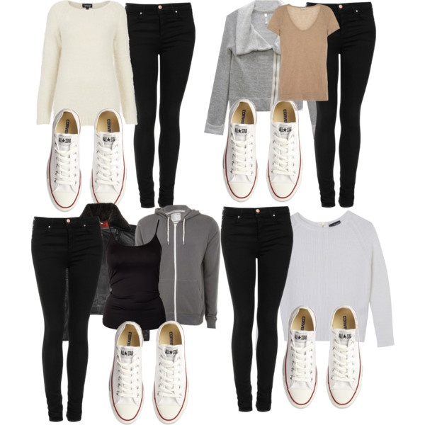 """Outfits ft. Black Jeggings and white lo Converse"" by lifeofsiena on Polyvore"
