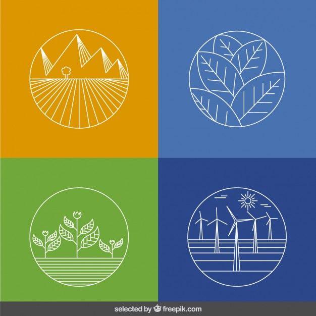 Décrit la collecte des icônes de l'écologie Vecteur gratuit