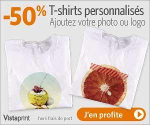 VistaPrint : -50% sur les T-Shirts personnalisés avec photo ou logo (hors fdp) | Maxi Bons Plans