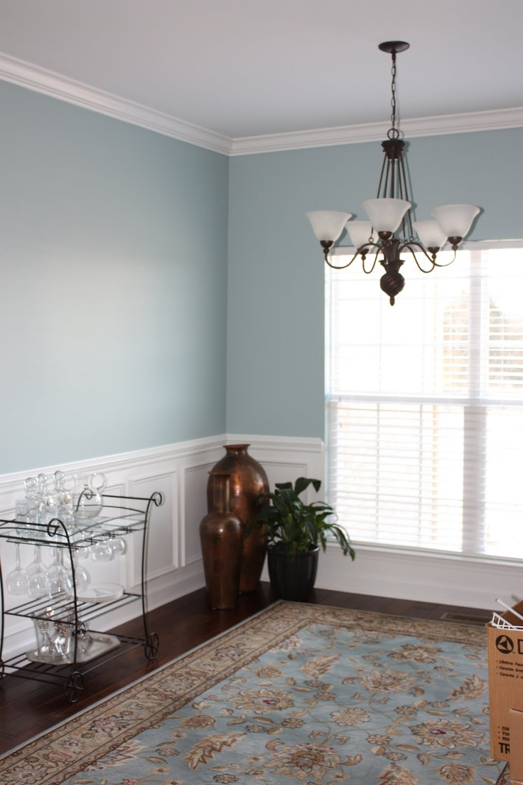 Two Tone Dining Room With Blue Walls
