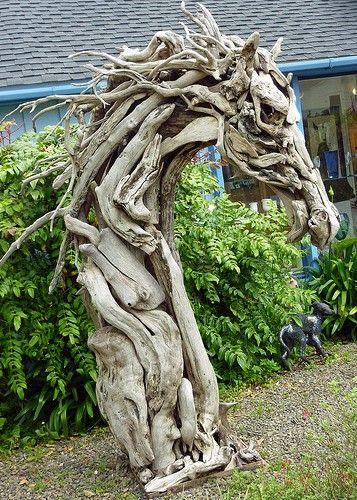 Horse head in driftwood  #Cowgirl #Art #CowgirlArt #Horse #HorseArt   http://www.islandcowgirl.com