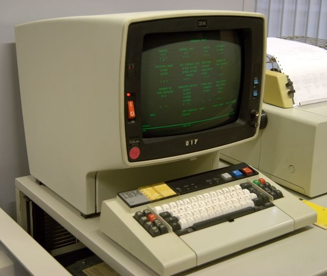 "IBM 3278 - The 3270 series was (is?) the standard IBM mainframe ""green screen"" terminal"
