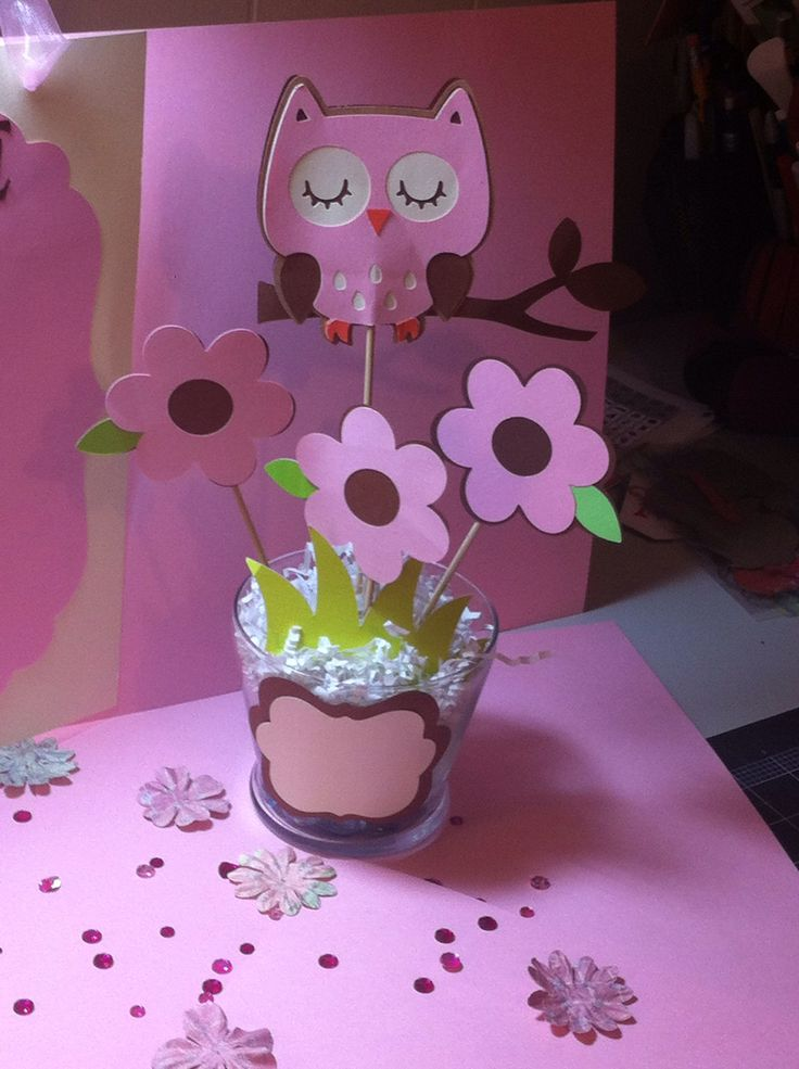 Baby shower centerpiece I made, owl themed. Visit ...