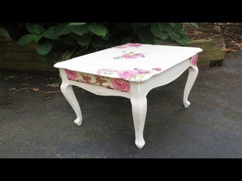 How to Decoupage Furniture with Napkins a Table Video~This table turns out beautiful! Shabby Chic