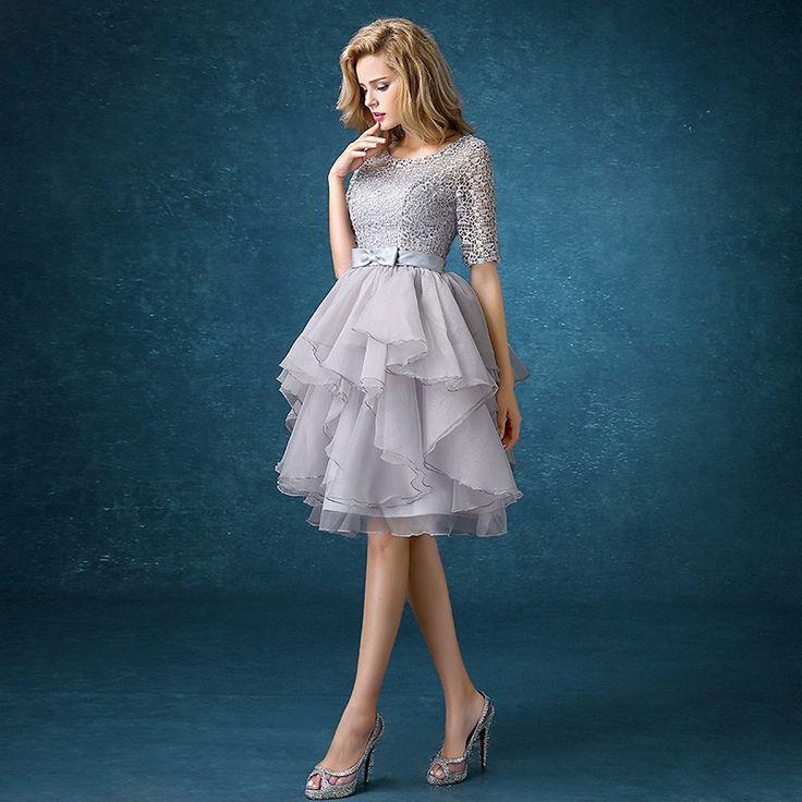 Half Sleeve Back Lace Up Gray Bridesmaid Dress - Uniqistic.com