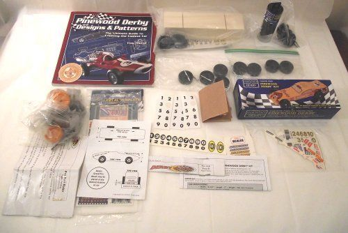 Pinewood Derby Lot Car Kit Wheels Decals Designs Pattern Book Weights Cub Scouts #CubScoutDerby