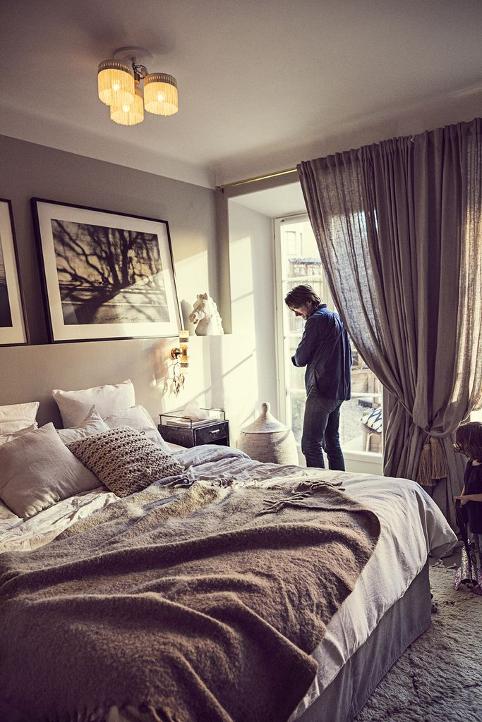 The Way We Play Magazine - Dusty Deco founder Edin Memic Kjellvertz - Bedroom in shades of grey and mix of vintage and modern interior and photo art