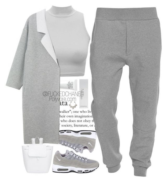 """AM95"" by fuckedchanel ❤ liked on Polyvore featuring Chanel, NIKE, Acne Studios, Monki, Mansur Gavriel and NARS Cosmetics"
