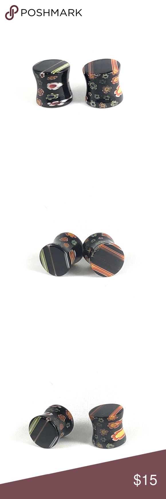 """Double Flare Black Stripe Acrylic Ear Gauges/Plugs New! Hand made acrylic ear gauges/Plugs. Blown in flower detail on the inside, flares are black & multicolor striped. Available in 1/2"""" & 00g.  ALL BODY JEWELRY IS BUY ONE GET ONE FREE! SEE MY OTHER LISTINGS! Space City Jewels Jewelry Earrings"""