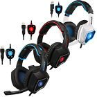 ﹩23.98. Sades Spirit Wolf 7.1 Surround Sound USB Gaming Headphones Headset W/Mic for PC    Connectivity - Wired, Connector(s) - USB, Earpiece - Double, Earpiece Design - Ear-Cup (Over the Ear), Fit Design - Neckband