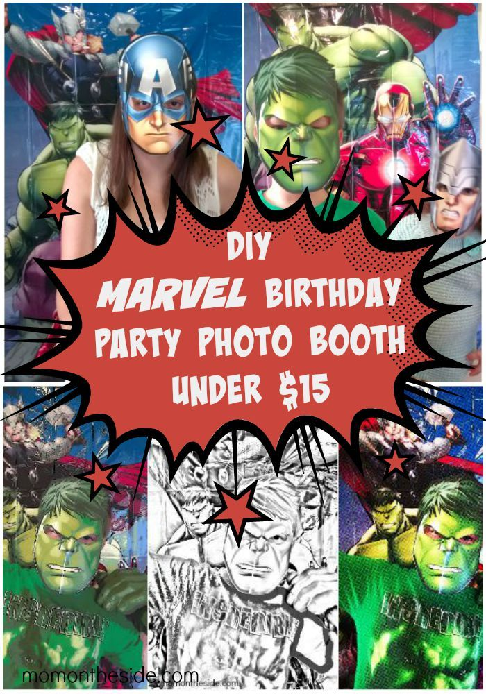 DIY MARVEL Birthday Party Photo Booth Under $15 that is perfect for MARVEL Parties and Avengers Parties! #BDayOnBudget ad