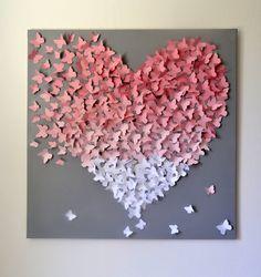 XL 3D Schmetterling Anweisung Wand Kunst-Light Pink von RonandNoy