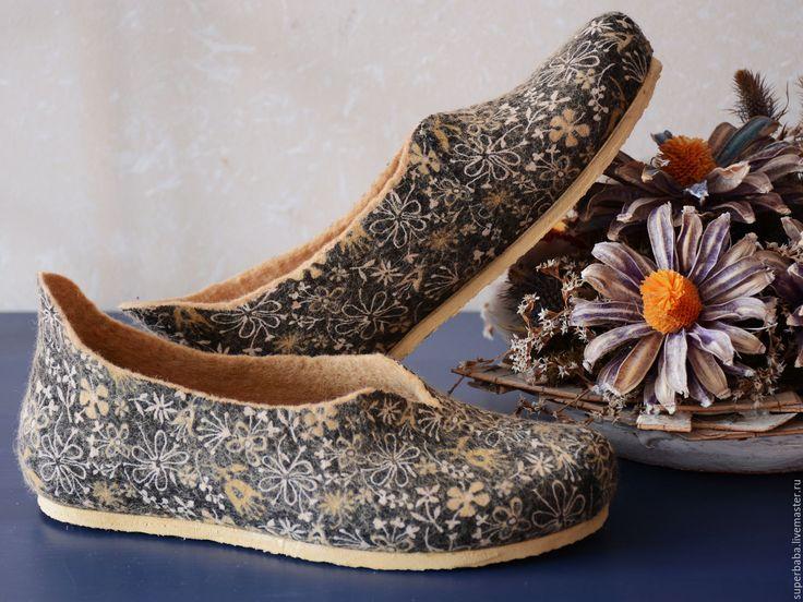 Купить тапочки домашние - темно-серый, тапочки домашние, обувь для дома, домашняя обувь