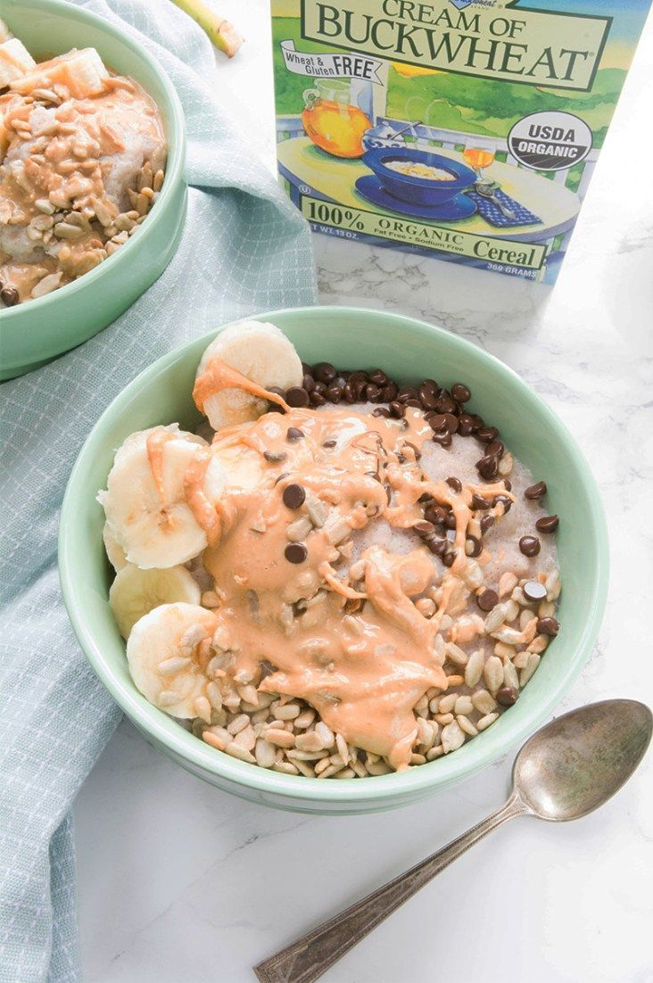 Chocolate Peanut Butter Cream of Buckwheat - Happy Healthy RD