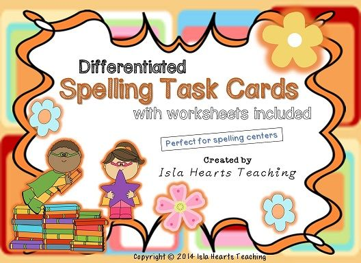 Three levels of colorful spelling task cards (and accompanying booklets) that work with ANY spelling list!