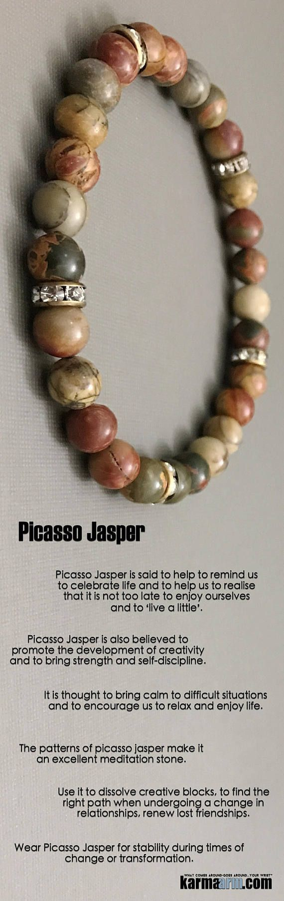 #BEADED #Yoga #BRACELETS ♛ #Picasso Jasper is said to help to remind us to celebrate life and to help us to realize that it is not too late to enjoy ourselves and to 'live a little'. #Mens #Jewelry #Eckhart #Tolle #Crystals #Energy #gifts #Handmade #Healing #Kundalini #Law #Attraction #LOA #Love #Mala #Meditation #prayer #Reiki #mindfulness #wisdom #Fashion #birthday #Spiritual #Buddhist #Tony #Robbins #Gifts #Womens #Reiki
