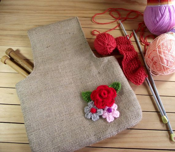 Wristlet Knitting Project bag Jute Bag for by LiliaCraftParty, $28.50