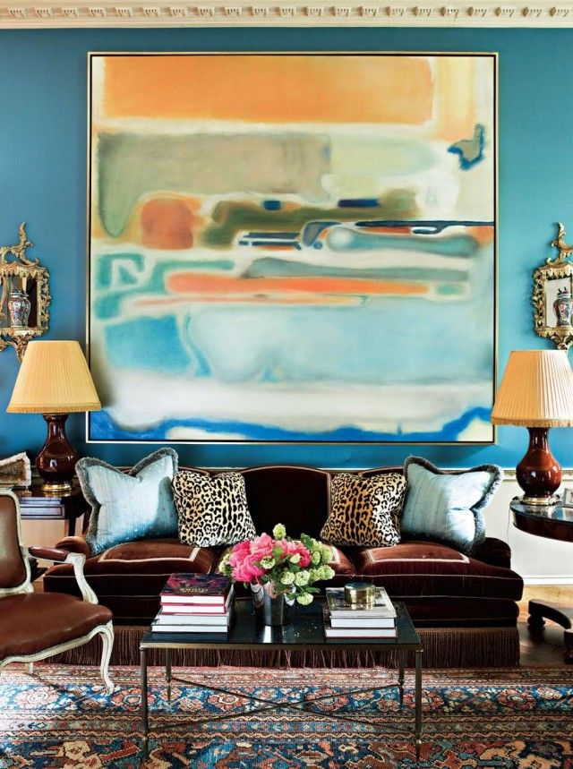 Oversized Art - this room has so much colour!
