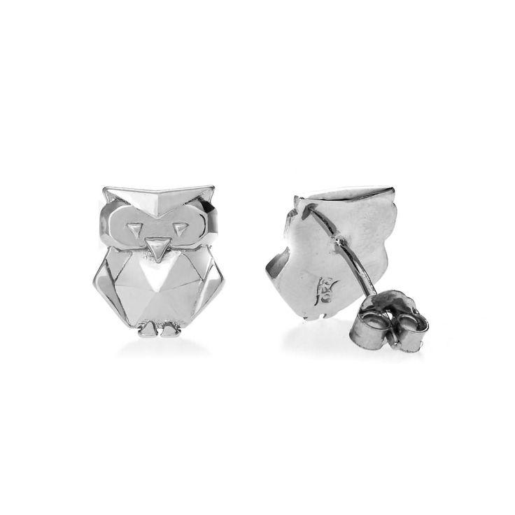John Greed Origami Safari Owl Rhodium Plated Silver Stud Earrings | John Greed Jewellery