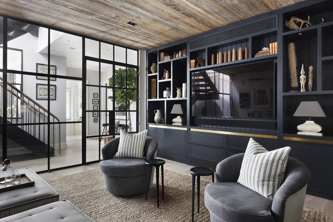 The Antidote To Open Plan Layouts Basement House Plans Modern Tv Room Living Room Built Ins