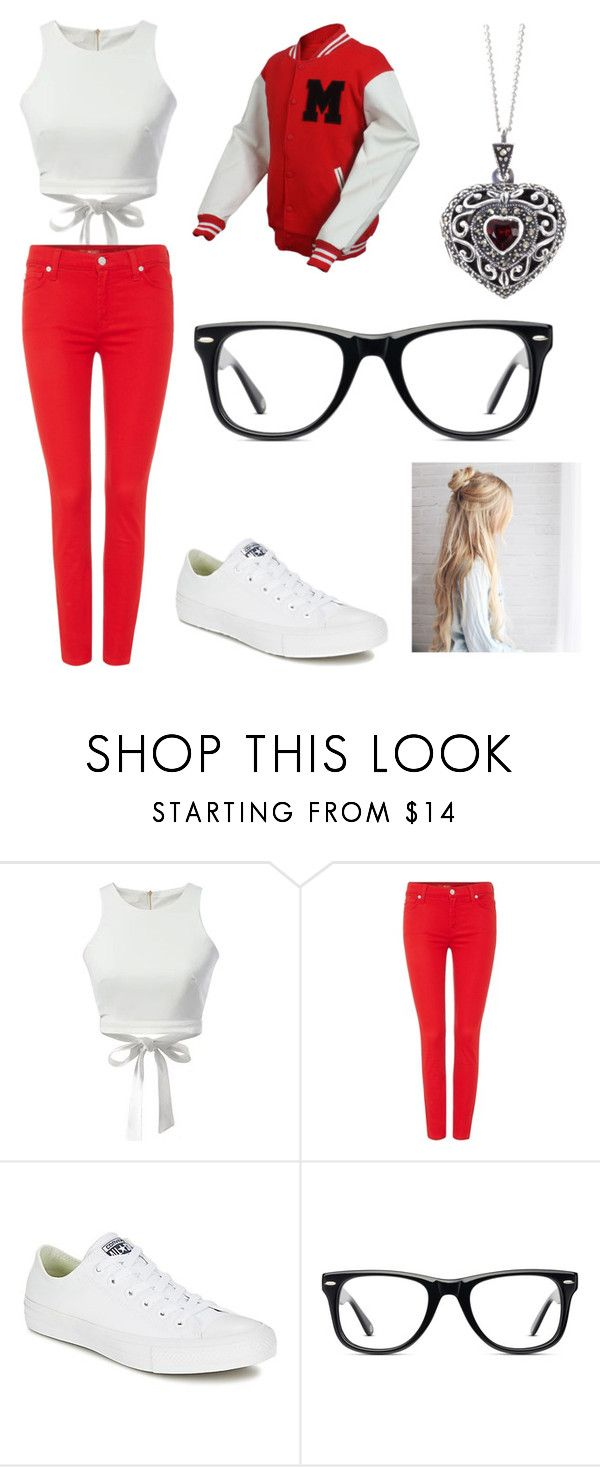 """""""Aubrie Hudson - Grilled Cheesus #3"""" by aria-mcgee ❤ liked on Polyvore featuring WithChic, 7 For All Mankind, Converse, Muse and Lily Blanche"""