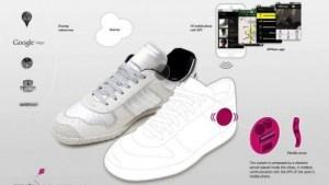 Zapatos con navegador y bolso cargador de móviles.