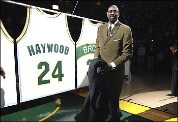 The Sonics retire Spencer Haywood's number.  Should be a Hall of Famer but the NBA won't do that since he sued them to be allowed to play in the league as an underage player.  Nowadays it's commonplace.